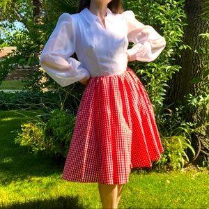 Vintage 70s Gingham Plaid Bishop Puff Sleeve Dress Retro Red White Mad Men